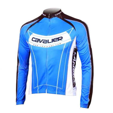 LAMBDA Cycling Bicycle Bike Riding Long Sleeves Suit Jersey - Blue + Black (FSLV)