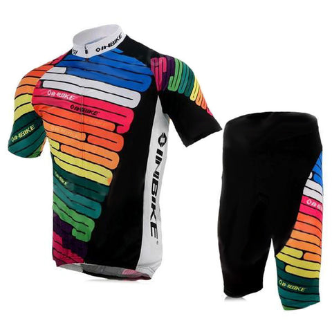 Inbike Bicycle Cycling Short Sleeves Jersey + Shorts Set - Multicolored (Size M) (FSLV)