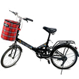 Inbike Compact Foldable Handlebar Mount Canvas Storage Basket Tote Bag for Bicycle - Red (FSLV)