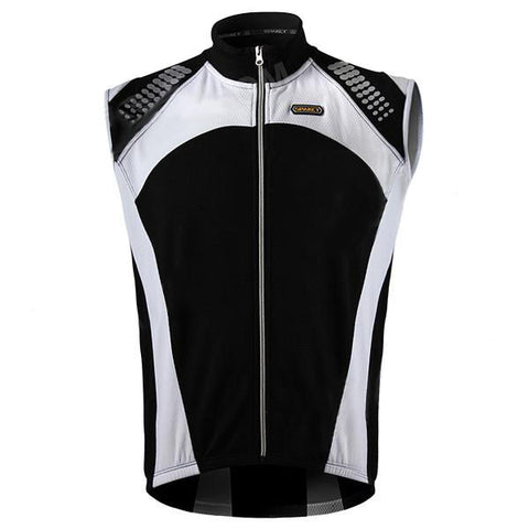 Spakct Cycling Brushed Polyester Fabric Sleeveless Zipper Vest for Men - Black + White (XL)