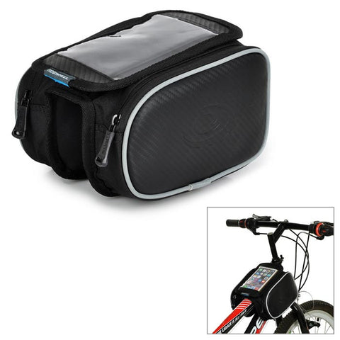 Roswheel Bike Front Tube Bag w/ Transparent Cellphone Bag - Black (FSLV)