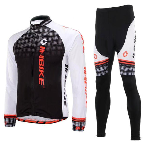 Inbike Outdoor Cycling Polyester + Spandex Jacket + Pants for Men - White + Black