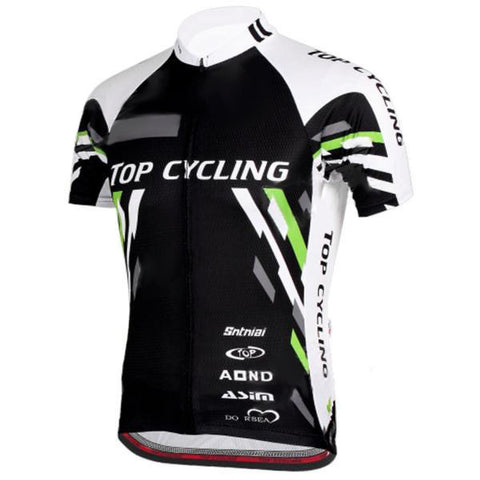 Topcycling Men's Outdoor Cycling Short Jersey Clothes - Black + White