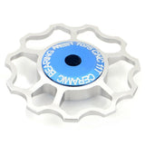 Bike Bicycle Ultra Light 6-Axle 11T Ceramic Wheels Rear Derailleur Pulley - Blue (FSLV)