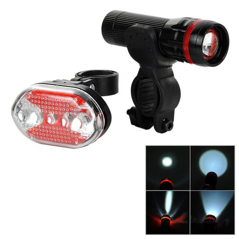 5-LED 7-Mode Red Tail Light + White Zooming Flashlight for Bike - Red (FSLV)