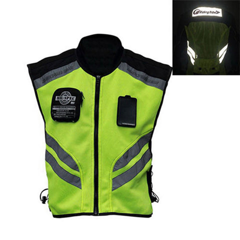 RIDING TRIBE JK-22 Motorcycle Safety Vest - Green + Black