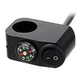 Motorcycle Handlebar Switch w/ Compass for Headlight - Black (FSLV)