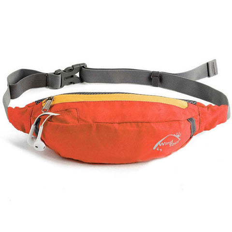 Wind Tour Water Resistant Waist Bag w/ Adjustable Strap - Orange