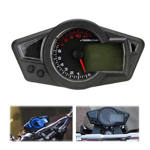 Motorcycle Speedometer + Tachometer+ Odometer + Oil Level Gauge -Black