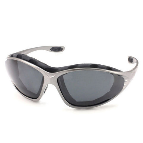 Panlees Anti-Wind Polarized Motorcycle Sunglasses Goggles w/ Replaceable Temple - Gun Grey