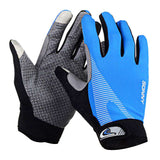 Outdoor Cycling Anti-Slip Full-Finger Touch Screen Gloves - Blue + Grey (Pair) (FSLV)