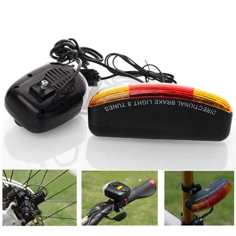 Bicycle Taillight with Turn Light / Electronic Horn / Brake Light - Black (FSLV)