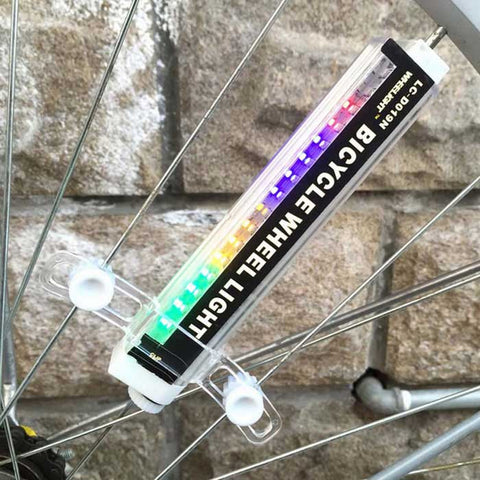 Bicycle Bike Colorful 16-LED Spoke Wheel Light - White+Black (FSLV)
