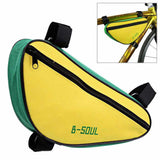 B-SOUL YA191 Nylon Triangle Bike Top Tube Bag - Yellow + Green (FSLV)