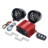 25W Motorcycle Audio System w/ TF & Anti-Theft Alarm - Black + Red (FSLV)