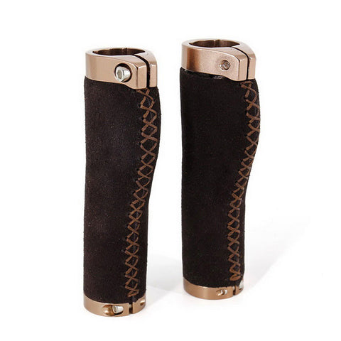 Lock-on Leather Handlebar Hand-Stitched Grip - Dark Brown (Pair) (FSLV)