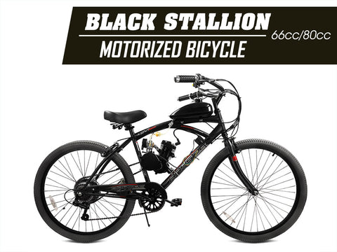 Black Stallion 66cc/80cc Angle Fire Slant Head Motorized Bicycle