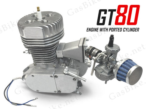 GT80 Bicycle Racing Engine 66cc - 4.5 HP with Ported Cylinder Gas Motorized
