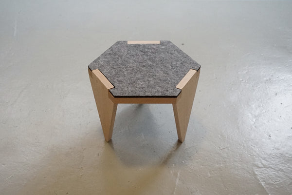 Hexa wood low stool