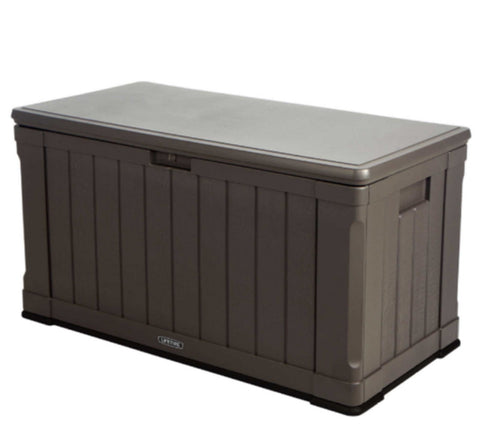 116 Gallon Plastic Deck Box Durable Storage Bench Garden Patio Furniture Brown