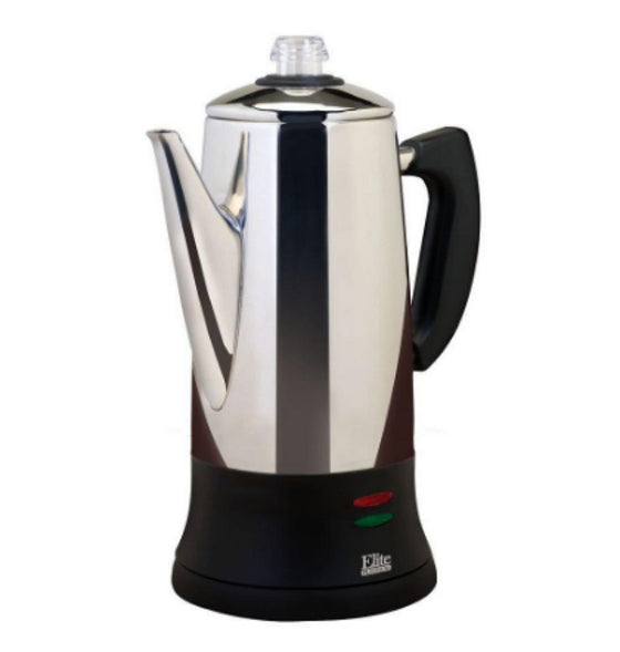 12-Cup Percolator in Stainless Steel 1000 Watts Lightweight Portable Appliance