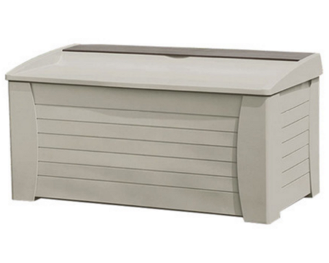 127 Gallon Deck Box Storage Bench Outdoor Patio Furniture Taupe Finish