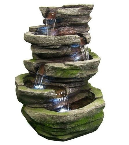 Outdoor Rock Waterfall Fountain with LED Lights