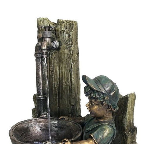 Boy and Dog Fetching Water Outdoor Fountain with LED Light Garden Fixture Decor