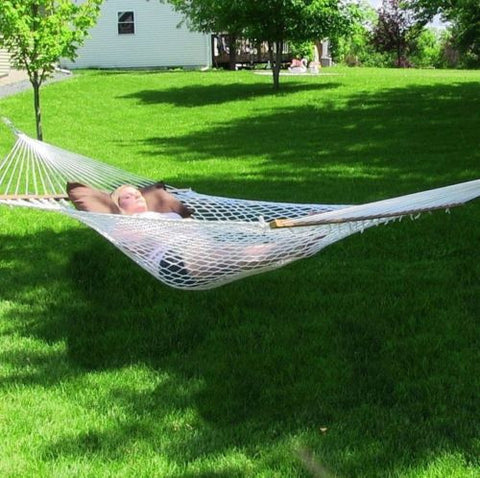 12 Foot Polyester Rope Hammock with Hard Wood Spreader Bars