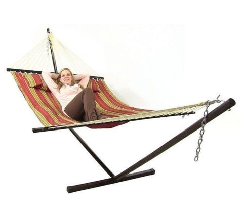 Red Quilted Double Fabric Hammock With Stand & Pillow Combo