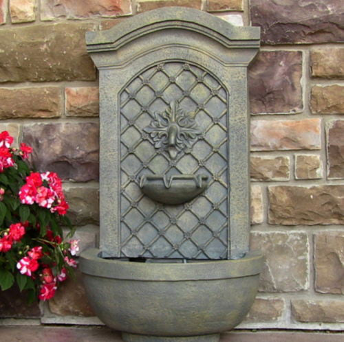 Outdoor Solar Wall Water Fountain in French Limestone Finish