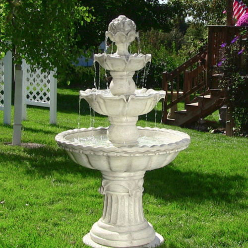 Electric White 4 Tier Outdoor Garden Fountain Water Fixture Yard Decoration New