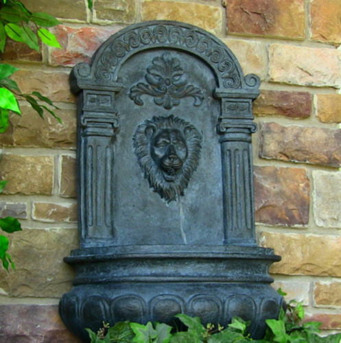 Outdoor Wall Mount Solar On Demand Lion Head Water Fountain