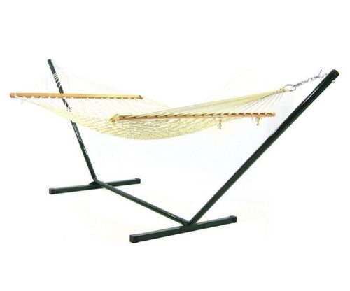 Cotton Rope Hammock With Stand Combo w/ Spreader Bar & Chains