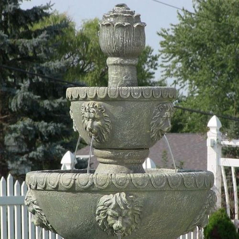 Outdoor 3 Tier Electric Lion Head Water Fountain