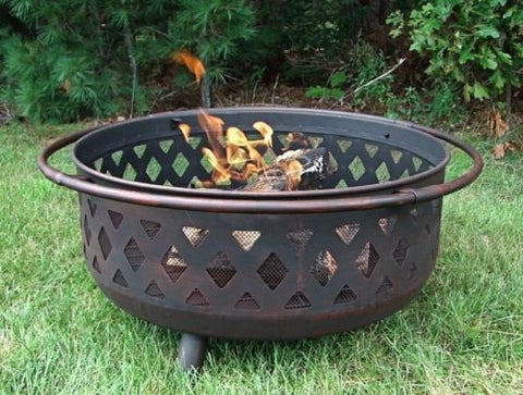 Bronze Cross Weave Firebowl Fire Pit With Poker Log Grate Spark Screen Cover