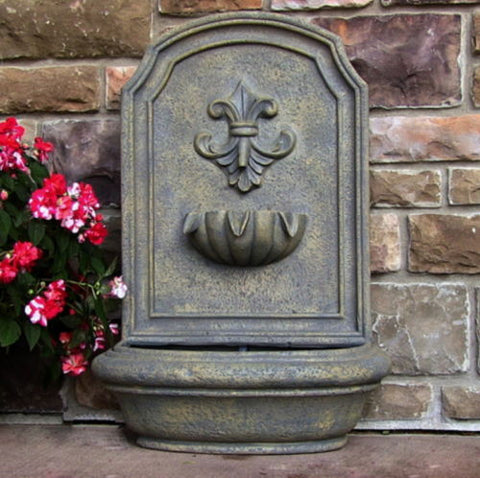 Outdoor Solar On Demand Wall Water Fountain in French Limestone Finish