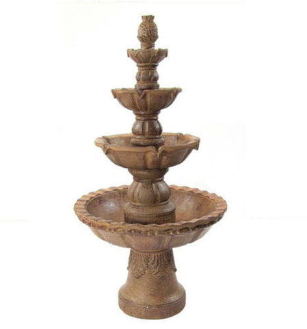 "4 Tier Outdoor Electric Water Fountain  w/ Pineapple Top 52"" Tall"