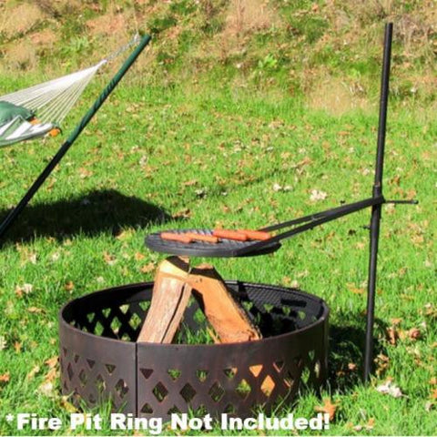 18 Inch Portable Adjustable 360 Degree Swivel Rotating Fire Pit Cooking Grill