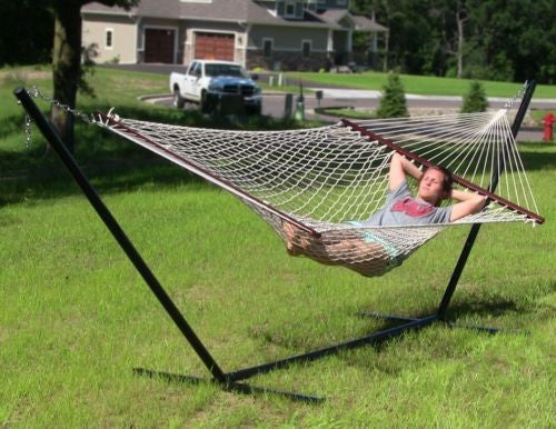 Cotton Rope Hammock Wood Spreader Bars Double Wide Holds up to 450lbs