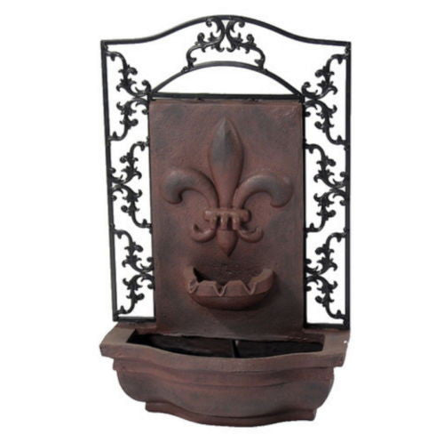 Solar On Demand French Inspired Wall Fountain in Weathered Iron Finish
