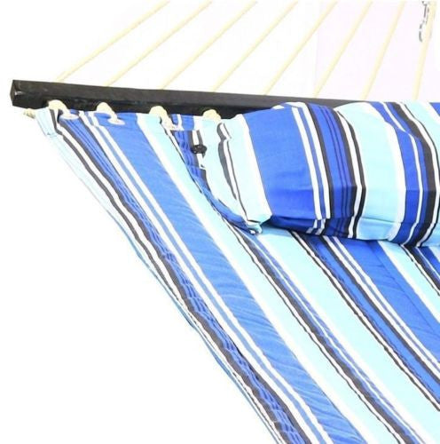 Hammock With Stand & Pillow Combo Quilted Double Fabric Polyester Spreader Bar