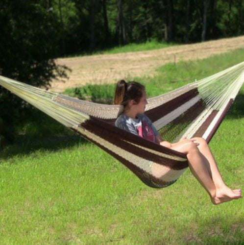 Comfortable Durable Outdoor XXL Thick Cord Mayan Hammock In Brown And Natural