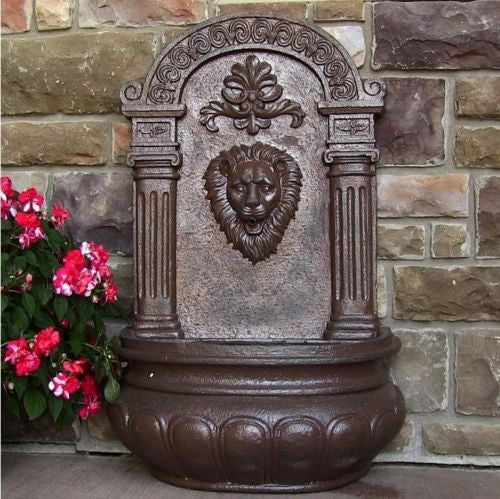 Electric Wall Mount Lion Head Water Fountain in Weathered Iron Finish