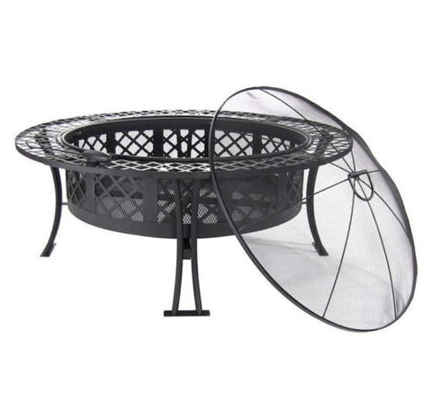 Outdoor Fire Pit With Spark Screen and Fire Poker