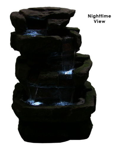 Large Outdoor Rock Fountain with LED Lights