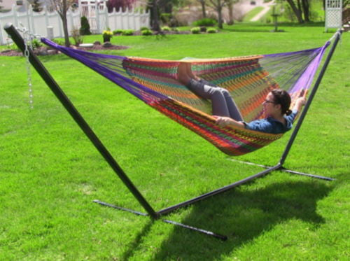 XXL Multi Color Handwoven Thick Cord Hammock With Stand