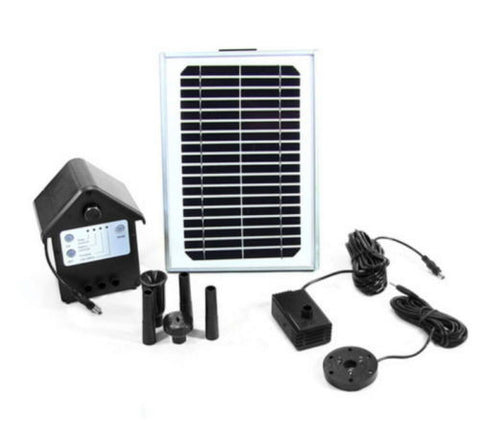 "Solar Pump And Panel Kit 56"" Lift Battery Pack LED Light Outdoor Water Fountain"