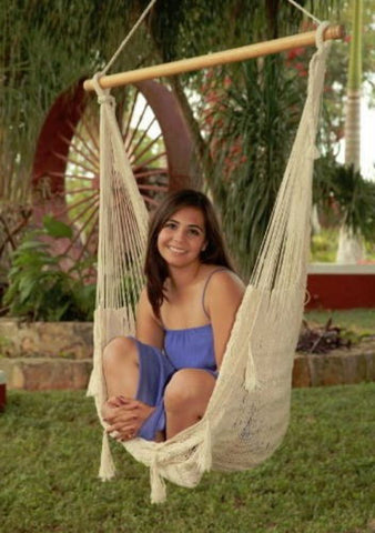 Large Handwoven Mayan Hammock Swing Chair With Wood Bar in Natural Color