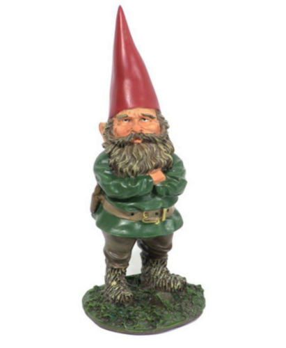 Man Garden Gnome With Arms Crossed On Grassy Platform